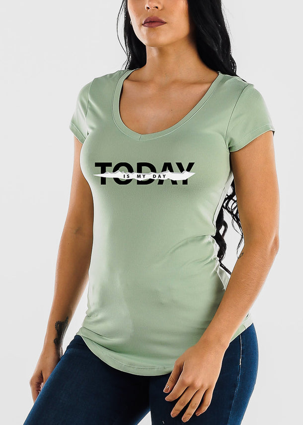 "Mint Graphic Top ""Today Is Not My Day"""