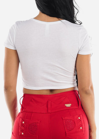 "Image of White Graphic Crop Top ""Love"""
