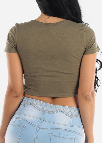 "Olive Graphic Crop Top ""Dolce & Banana"""