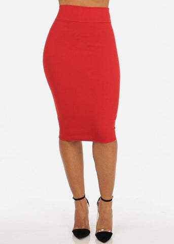 Image of Office Business Career Wear Going Out Sexy High Waisted Pencil Midi Coral Skirt