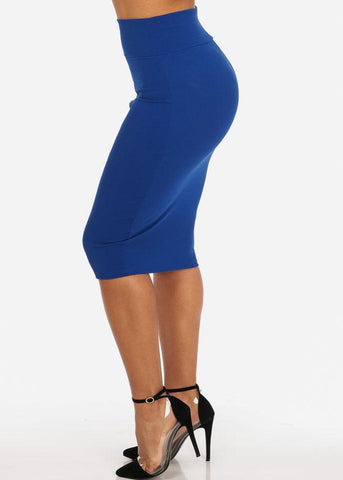 Blue High Waist Pencil Skirt