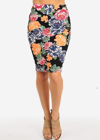 High Rise Black Floral Pencil Skirt