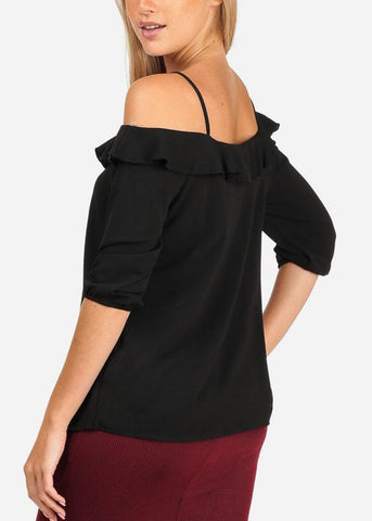 Image of Women's Junior Stylish Casual Going Out Lightweight Cold Shoulder Keyhole Neckline Black 3/4 Sleeve Blouse Top