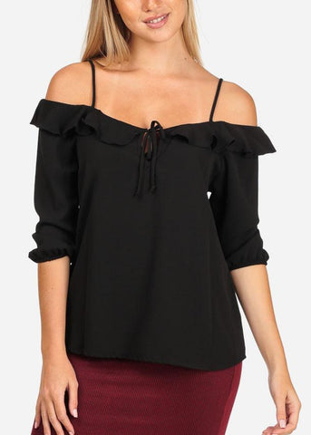 Image of Black Cold Shoulder Spaghetti Strap Blouse