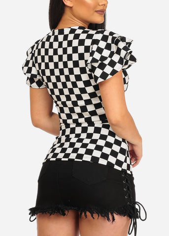 Image of Ruffled Sleeve Checkered Top