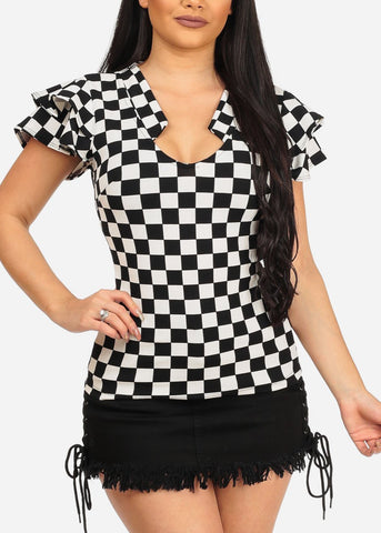 Women's Trendy Night Out Checkered Print Ruffle Sleeves Black And White Top