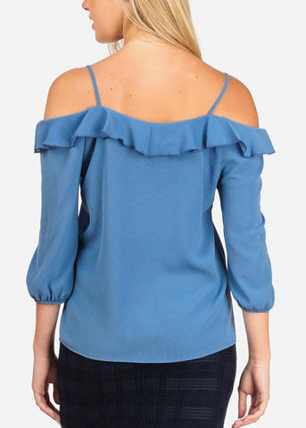 Image of Women's Junior Stylish Casual Going Out Lightweight Cold Shoulder Keyhole Neckline Sky Blue 3/4 Sleeve Blouse Top