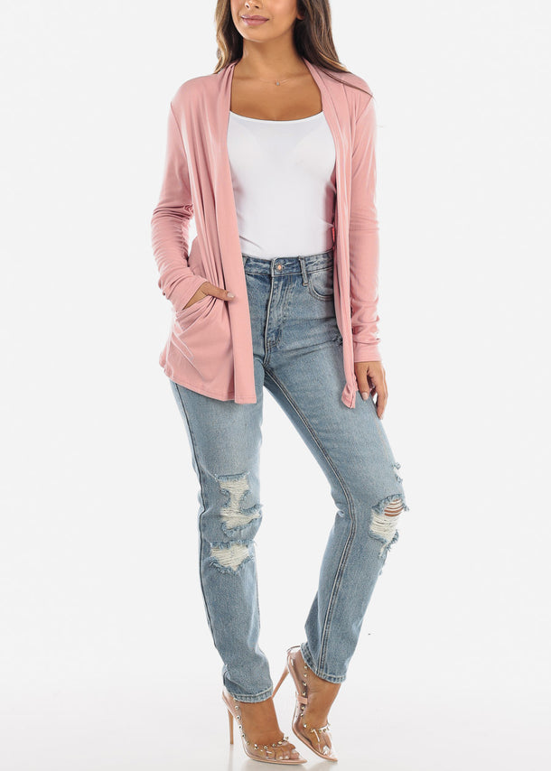 Pink Open Front Cardigan with Pockets