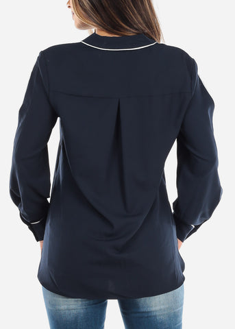 Image of Split Sleeve Navy Button Down Blouse TH80512NVY