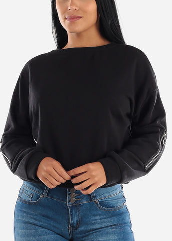 Black Long Sleeve Fleece Pullover