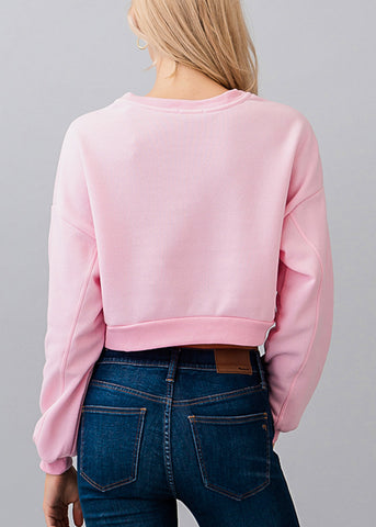 Image of Long Sleeve Pink Cropped Pullover