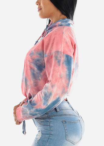 Image of Rose Tie Dye Pullover Top