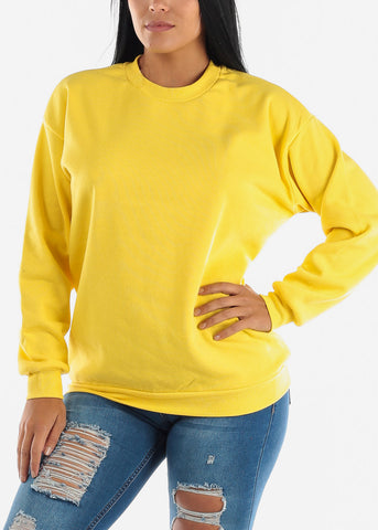 Yellow Loose Fit Fleece Sweatshirt