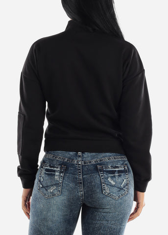 Image of Half Zip Up Black Fleece Pullover