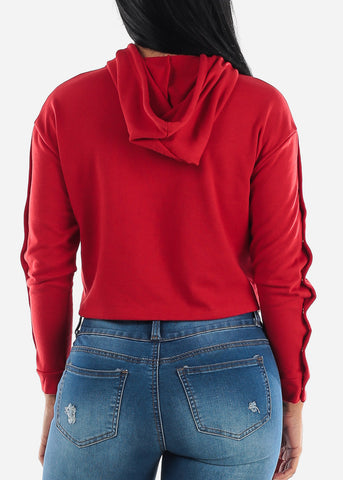 Image of Snap Button Down Red Crop Hoodie
