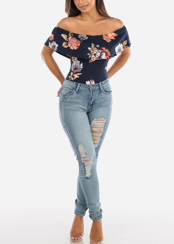 Floral Off Shoulder Navy Bodysuit BLE500HNVY