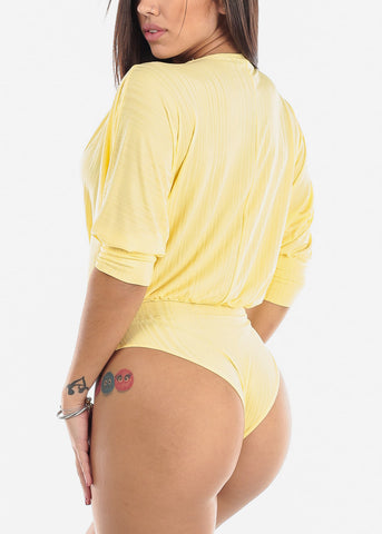 Image of Surplice Dressy Yellow Bodysuit