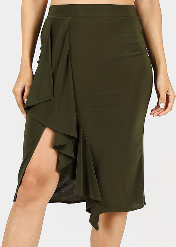 Side Ruffled Olive Pencil Skirt