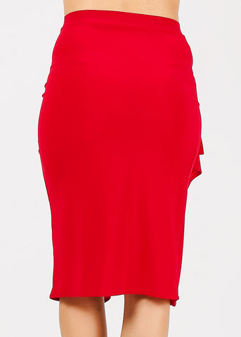 Side Ruffled Red Pencil Skirt