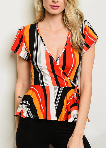 Image of Multicolor Stripe Peplum Top