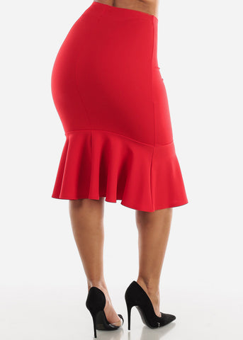 Image of High Waisted Red Peplum Skirt