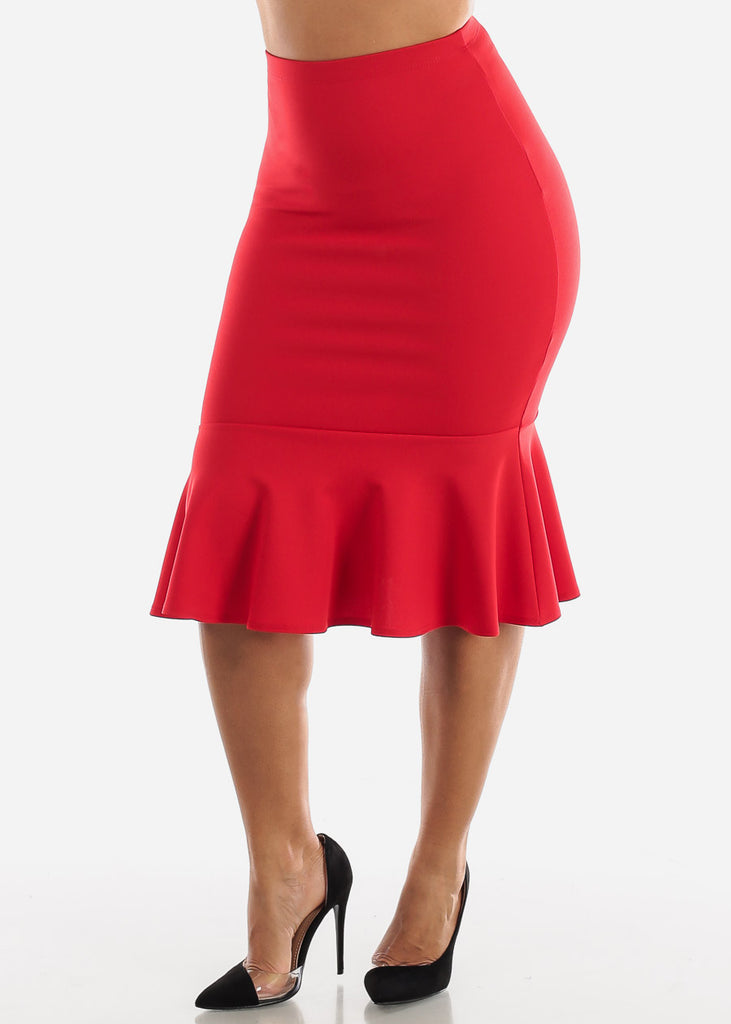 High Waisted Red Peplum Skirt