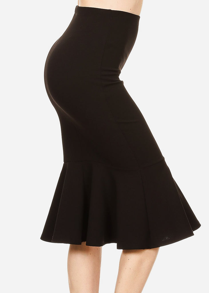 High Waisted Black Peplum Skirt