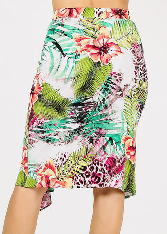 Image of Tropical Ruffled Midi Skirt