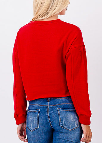 Raw Hem Red Cropped Pullover