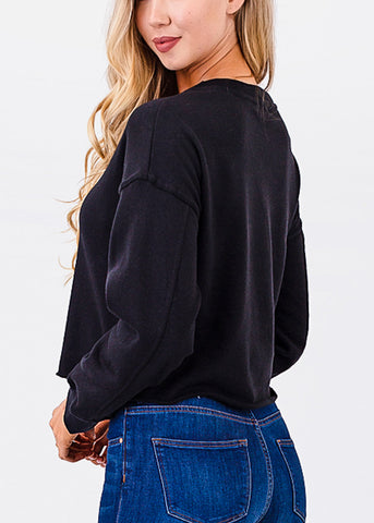 Raw Hem Black Cropped Pullover