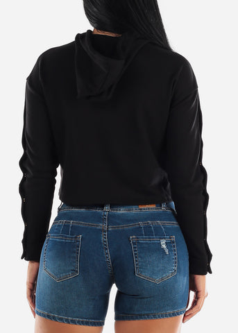 Snap Button Down Black Crop Hoodie