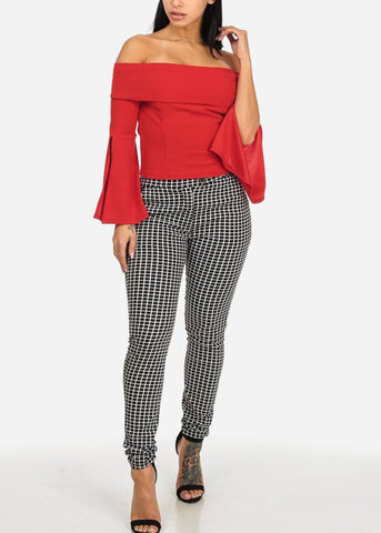 Image of Red Off Shoulder Bell Sleeve Top