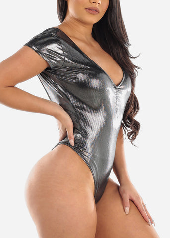 Image of Sexy Ruched V Neckline Short Sleeve Silver Grey Shinny Bodysuit