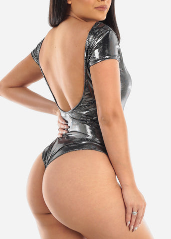 Metallic Silver Backless Bodysuit