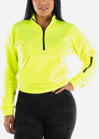 Image of Half Zip Up Neon Yellow Fleece Pullover