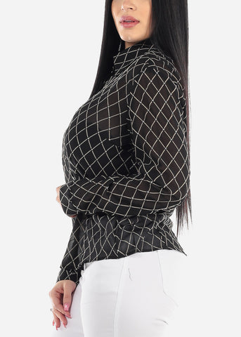 Image of Sheer Black Windowpane Blouse