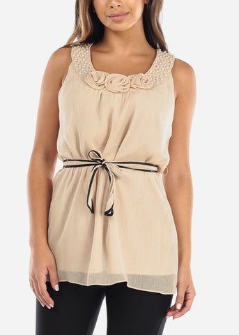 Image of Beige Pearl Neckline Blouse