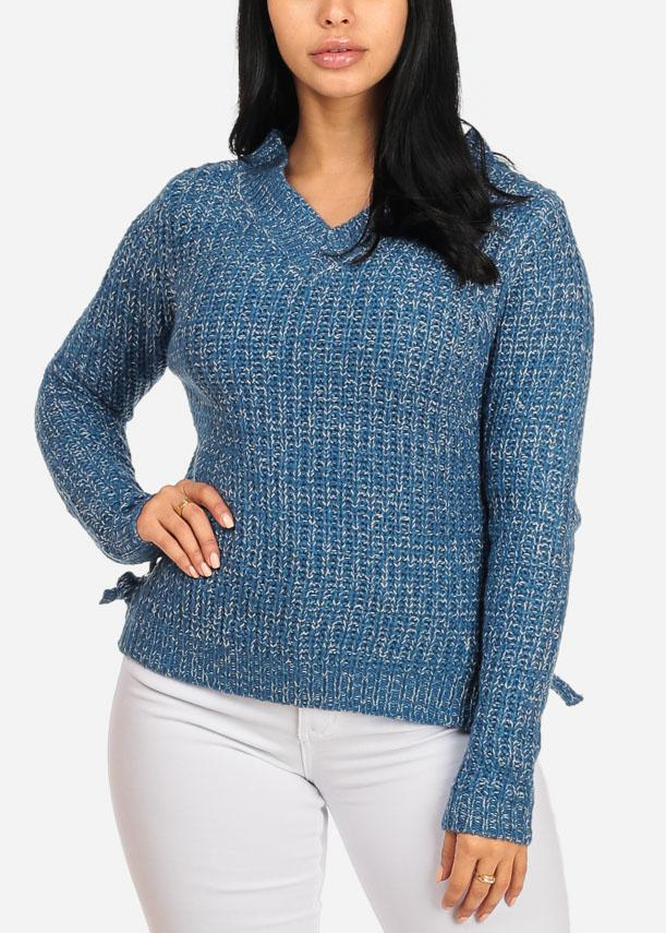 Blue Knitted Side Lace Up Sweater