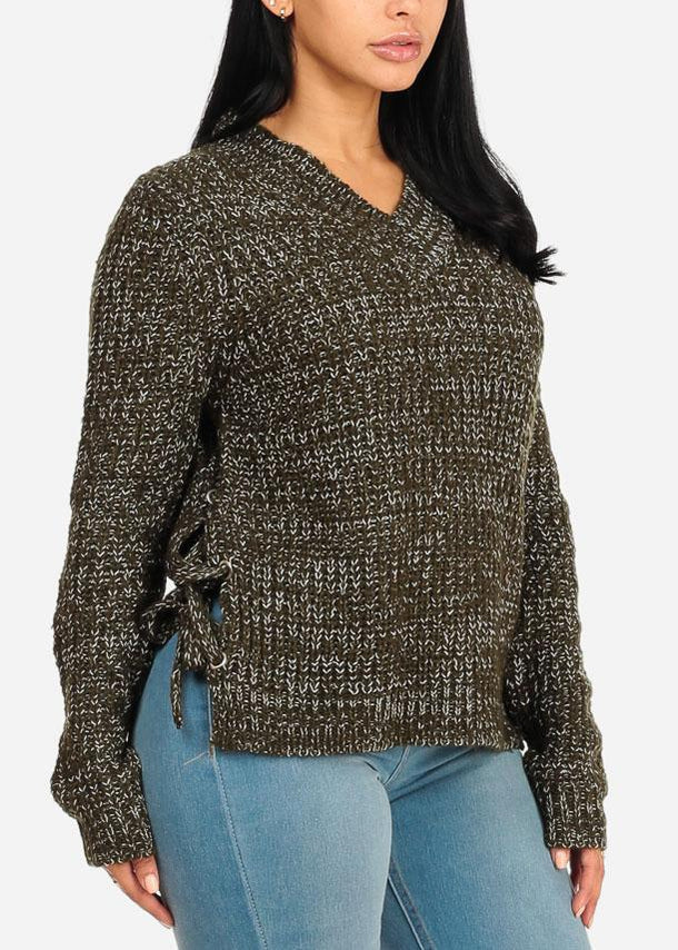 Olive Knitted Side Lace Up Sweater