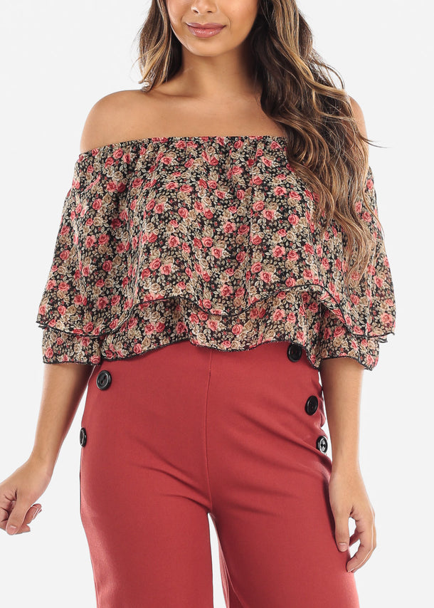 Floral Off Shoulder Ruffled Crop Top