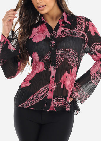 Image of Sheer Black & Pink Pleated Blouse