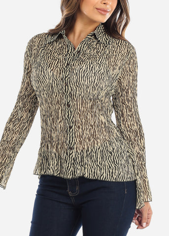 Image of Animal Print Button Down Blouse