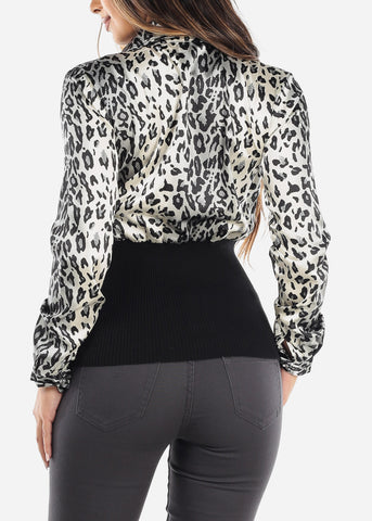 Grey Half Button Silky Animal Print Top