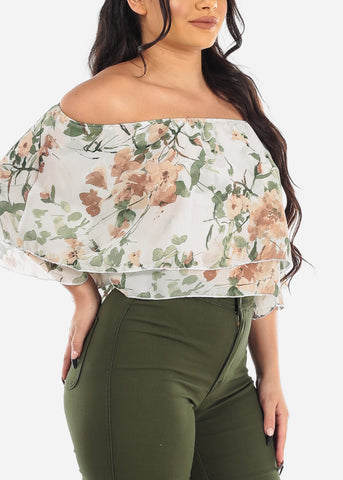 White Floral Off Shoulder Ruffled Crop Top