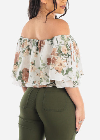 Image of White Floral Off Shoulder Ruffled Crop Top