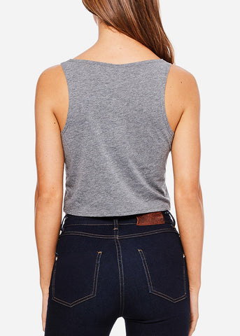 "Grey Cropped Tank Top ""My Eyes Are Up Here"""