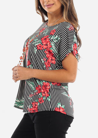 Image of Striped Floral Blouse With Necklace