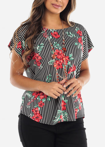 Striped Floral Blouse With Necklace