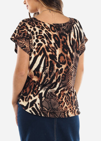 Animal Print Top w Necklace