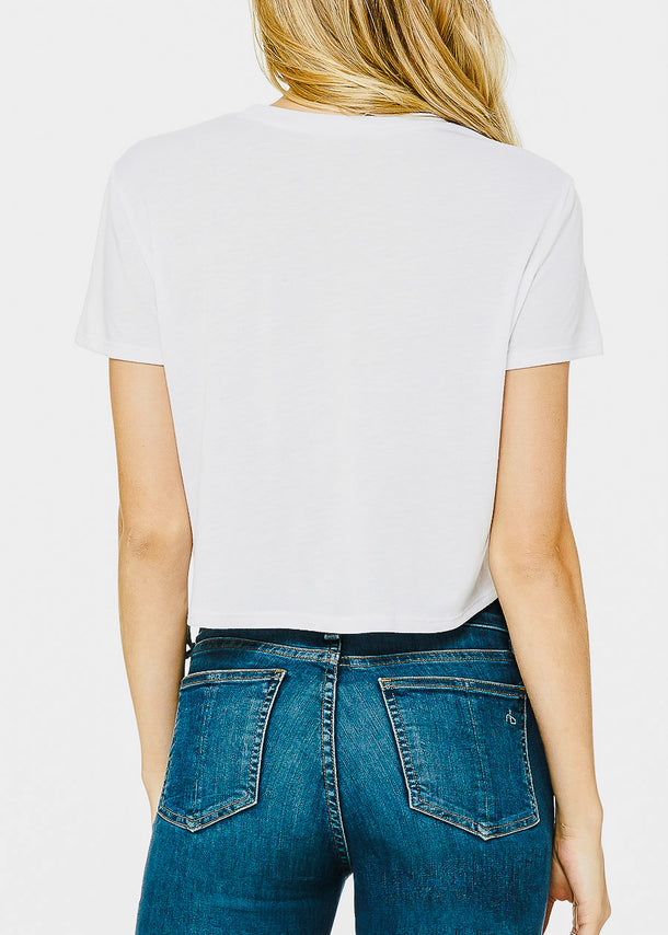White Graphic Crop Top